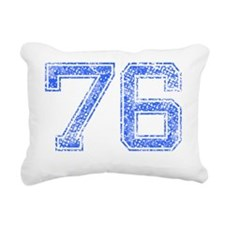 76, Blue, Vintage Rectangular Canvas Pillow