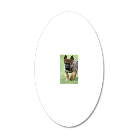 German Shepherd dog puppy 20x12 Oval Wall Decal