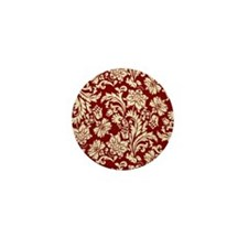 Cream and Scarlet Red Damask Mini Button