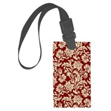 Cream and Scarlet Red Damask Luggage Tag