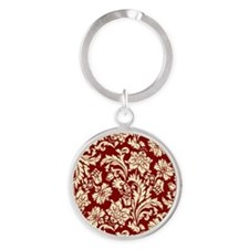 Cream and Scarlet Red Damask Round Keychain