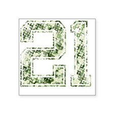 "21, Vintage Camo Square Sticker 3"" x 3"""