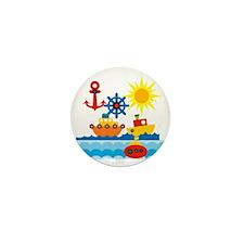 On The Ocean Blue Mini Button