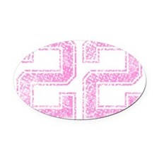 22, Pink Oval Car Magnet