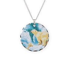 Mama and Cub Polar Bear Necklace Circle Charm