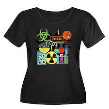 Mad Scie Women's Plus Size Dark Scoop Neck T-Shirt