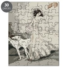 Art Deco Lady And Borzoi Puzzle