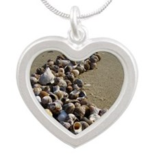 Seashells on the Seashore Silver Heart Necklace