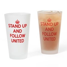 Stand UP and Follow United (Red/Whi Drinking Glass