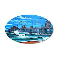 Huntington Beach Pier CIrca  35x21 Oval Wall Decal