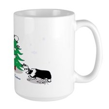 border collie clear Christmas Mug