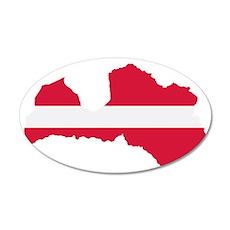 Latvia map flag 35x21 Oval Wall Decal