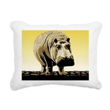 Happy Hippo Hippopotamus Rectangular Canvas Pillow