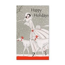 Art Deco Happy Holidays Rectangle Car Magnet
