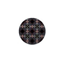 Funky Black Fractal Art Pattern Mini Button