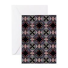 Funky Black Fractal Art Pattern Greeting Card