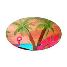 flamingo in paradise Oval Car Magnet