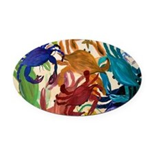 Crab Party Oval Car Magnet