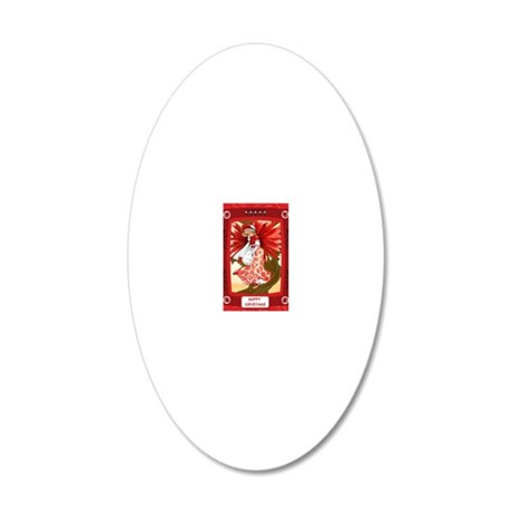 Lady in red 20x12 Oval Wall Decal