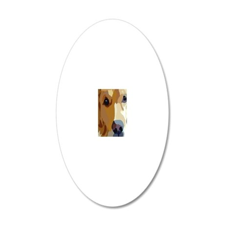 golden retriever 20x12 Oval Wall Decal