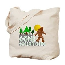 Gone Squatchin Vintage Retro Distressed Tote Bag