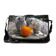 Snow Leopards and Pumpkin Messenger Bag