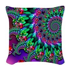Purple Green and Red Bokeh Fra Woven Throw Pillow