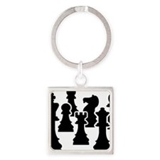 Chessmen Square Keychain