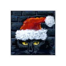 "Kitty Claws Secret Santa Square Sticker 3"" x 3"""