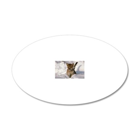 Cougar cub wading through sn 20x12 Oval Wall Decal