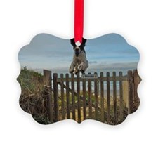 Dog crossing fence Ornament