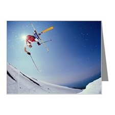 Skier in mid-air, low angle  Note Cards (Pk of 10)