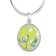 Stick figures dancing among d Silver Oval Necklace