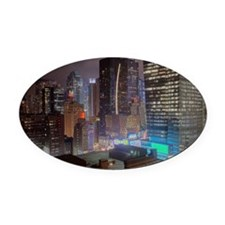 Manhattan highrises Oval Car Magnet
