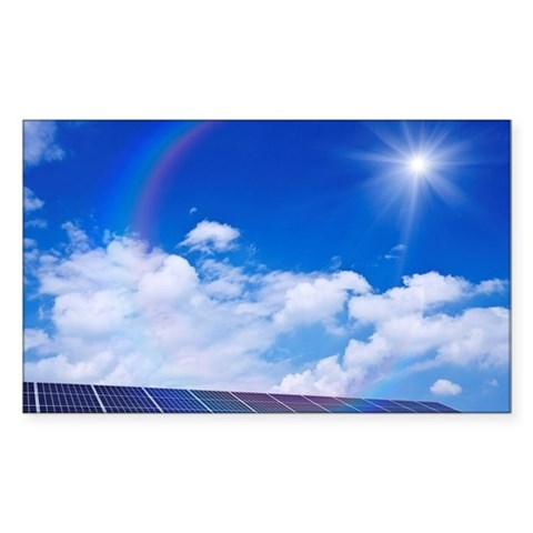 Blue Sky and Sun Over Solar Pa Decal