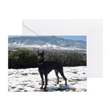 January Doberman image 2 Greeting Card