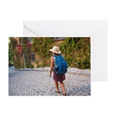 Female tourist walking on Mexican st Greeting Card