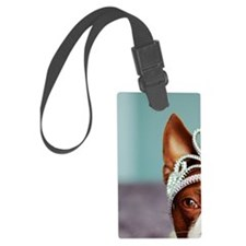 Red boston terrier wearing crown Luggage Tag