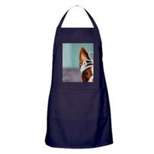 Red boston terrier wearing crown and  Apron (dark)