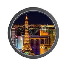 Las Vegas skyline and the Strip at nigh Wall Clock