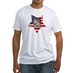 American Flag with Pomeranian Fitted T-Shirt