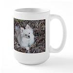 Pomeranian in leaves on Large Mug