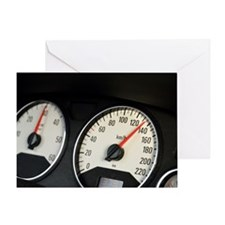 Car speedometer at 135km/hour, close Greeting Card