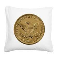 Gold Coin Square Canvas Pillow