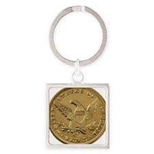 Gold Coin Square Keychain