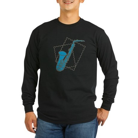 Blue Saxophone Long Sleeve Dark T-Shirt