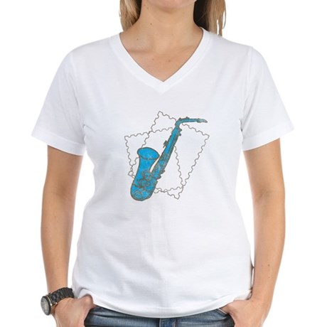 Blue Saxophone Women's V-Neck T-Shirt