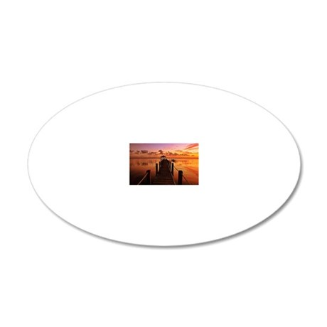Bridge at sunset in sound at 20x12 Oval Wall Decal