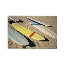 Surfboards lying on sand Rectangle Magnet