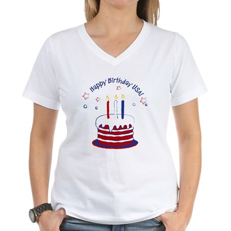 Happy Birthday USA Women's V-Neck T-Shirt